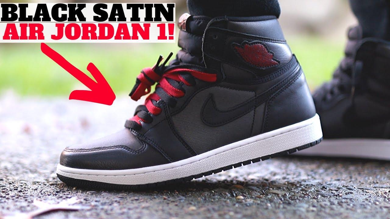 Air Jordan 1 Retro High Og Black Satin Review On Feet Youtube