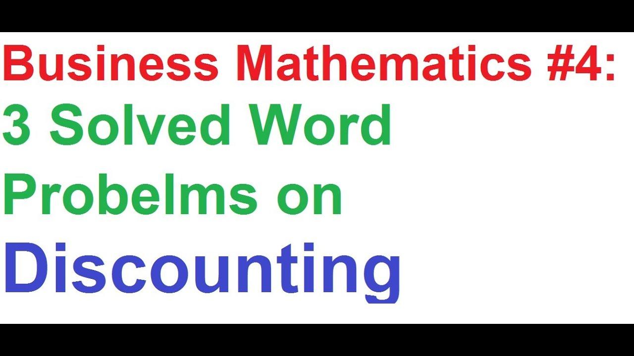 math worksheet : business math 4 discounting  3 solved word problemsexamples  : Business Math Worksheets
