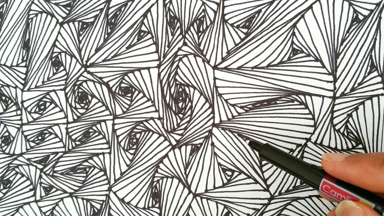 How To Do Line Design Art : How to draw random quot line optical illusions patterns
