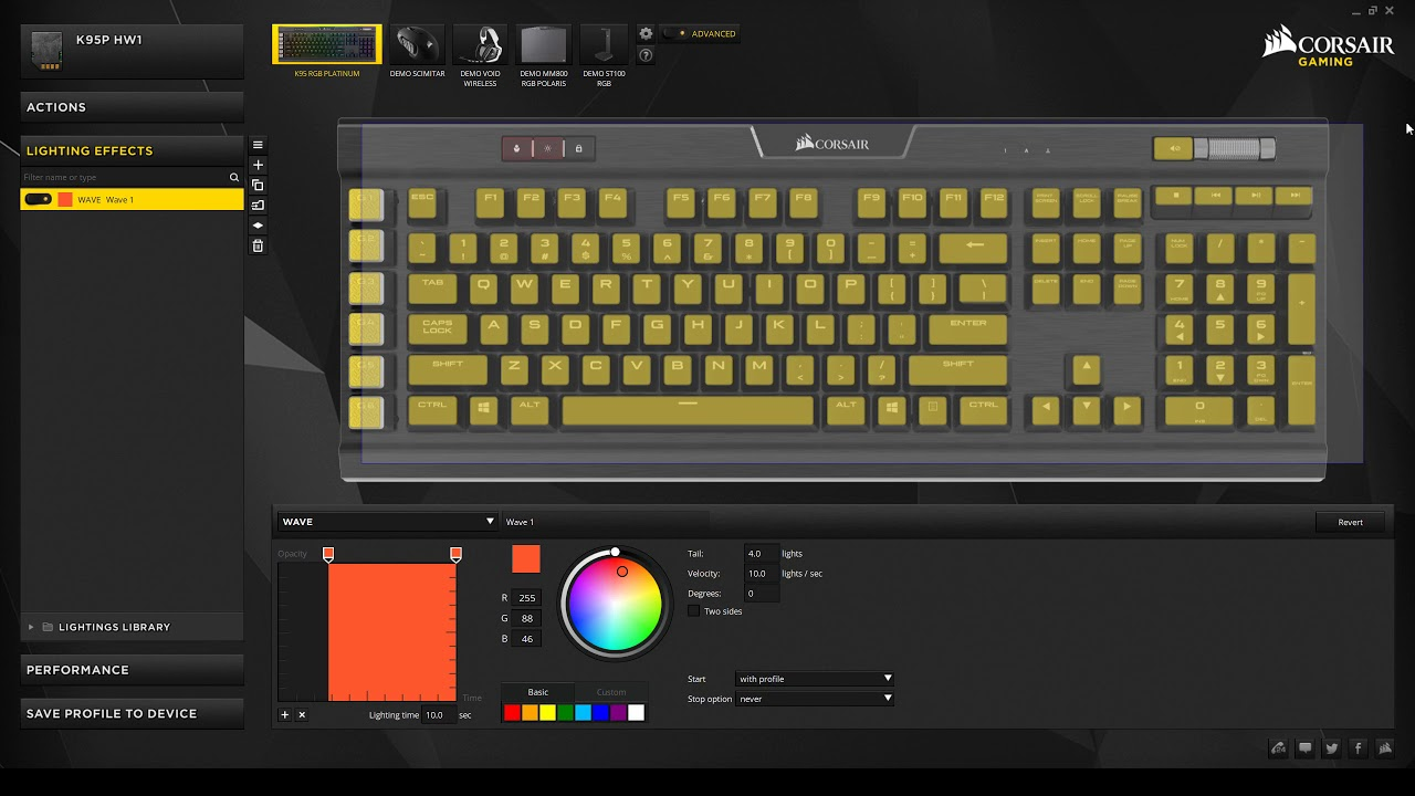 How to save custom profiles to corsair k95 RBG keyboard (Enable subtitles)
