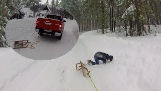 Toyota Hilux & snow fun with rope and snow sleigh