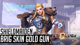 Brigitte ShieldMaiden Skin With Golden Gun (In-Game Showcase)   Overwatch