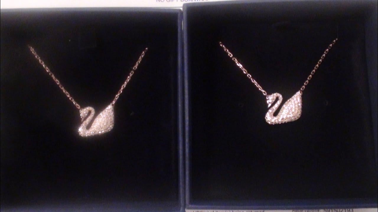 Swarovski Crystal Rose Gold Tone Swan Pendant Necklace