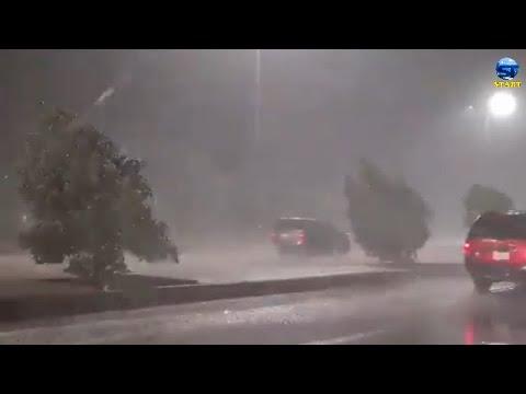 عاصفة ينبع المهيبة غرب السعودية
