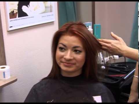 Женская стрижка и химическая завивка на волосы средней длины