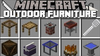 Minecraft BBQ OUTDOOR FURNITURE MOD / HAVE A ZOMBIE FIRE CAMPING NIGHT !! Minecraft