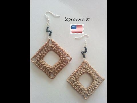 Crochet empty square earrings