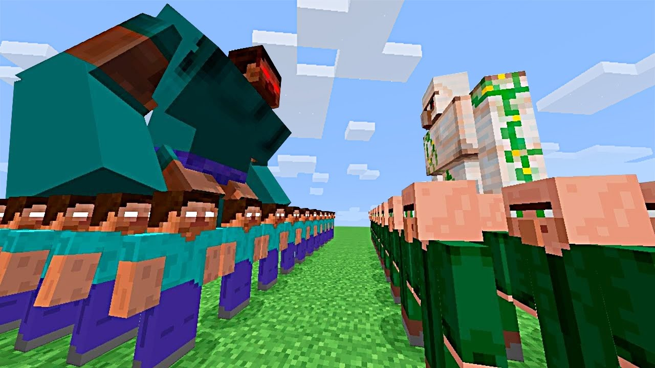 mine craft video 100 herobrine vs golem de hierro gigante en minecraft 2463