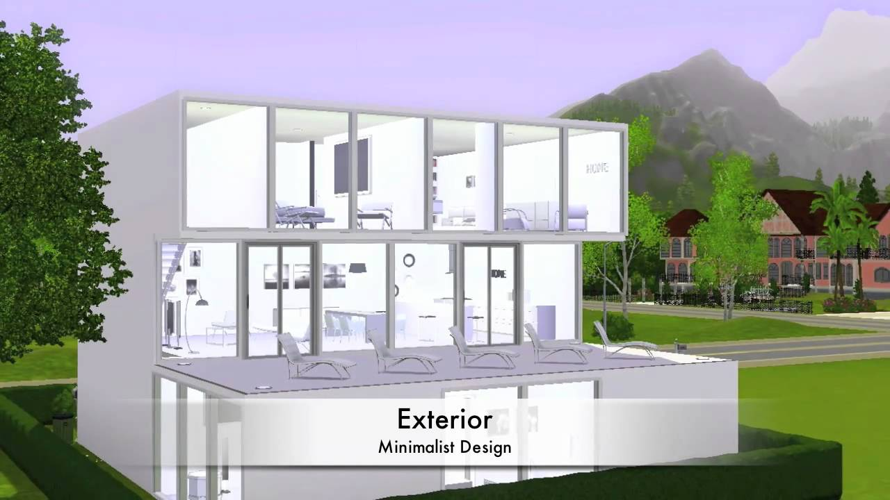 Sims 3 modern minimalist house youtube for Minimalist house sims 2