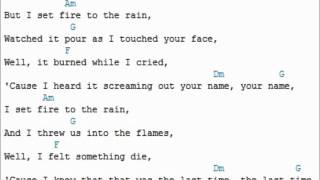 Adele - Set Fire to the rain (lyrics and guitar chords) Chordvid
