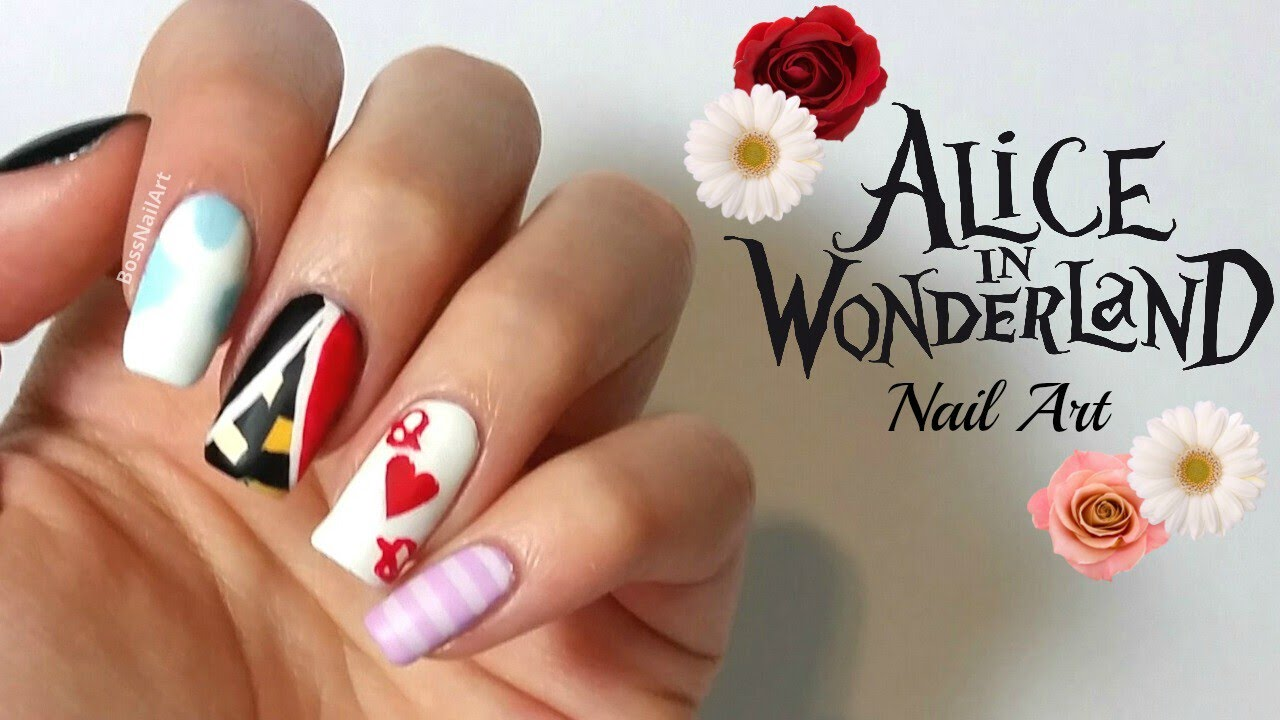 Alice In Wonderland Nail Art! | Movie nail art - YouTube
