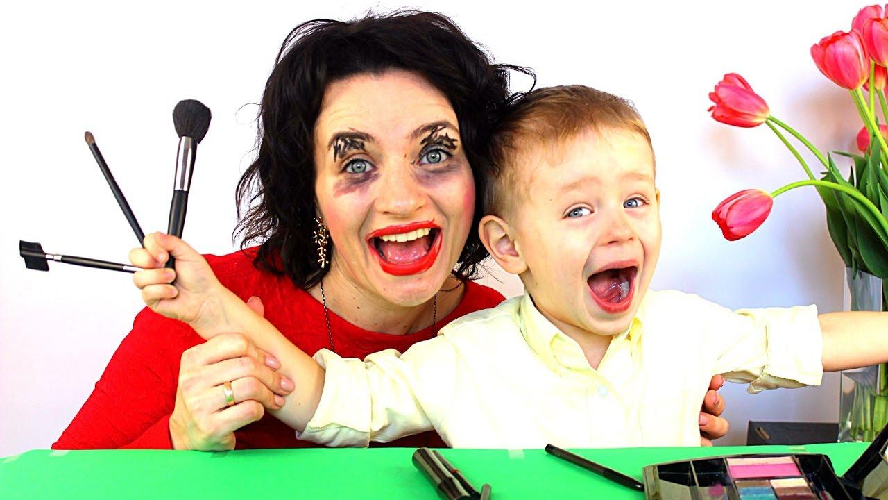 Макияж ЧЕЛЛЕНДЖ Гриша накрасил Маму Челенж с косметикой :)????????