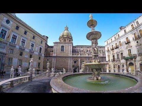 Palermo, Sicily, Italy. A Walk Around Pretoria Fountain and Square