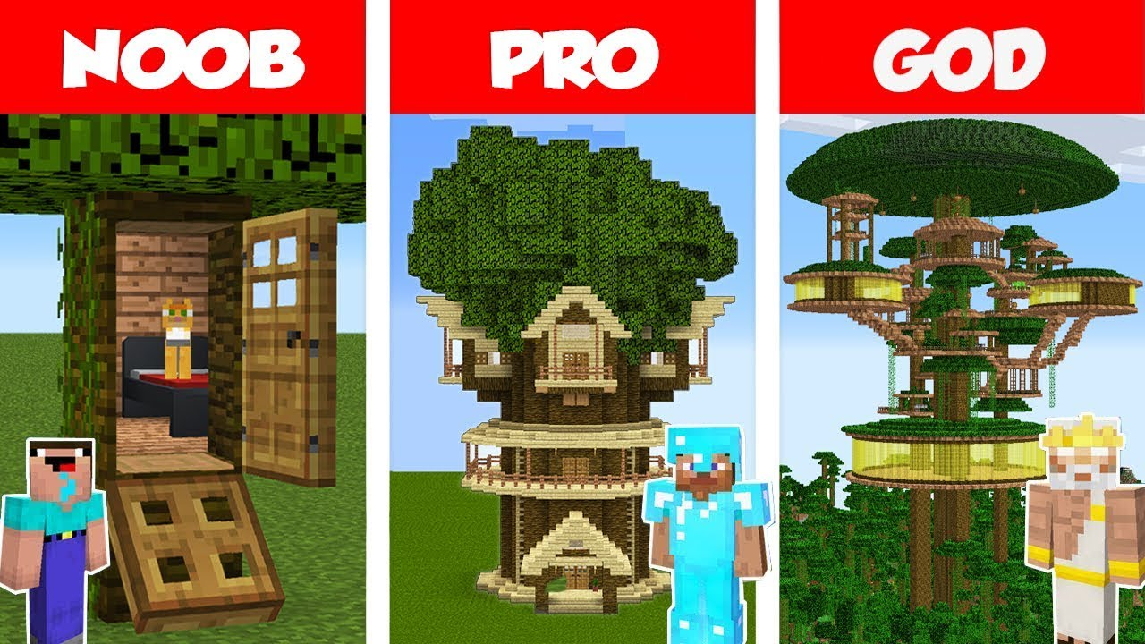 Minecraft Noob Vs Pro Vs God Jungle Tree House Build Challenge In Minecraft Animation Youtube