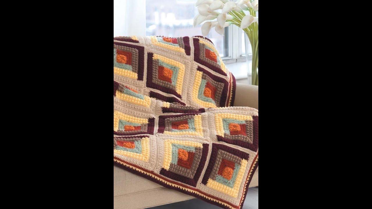 Crochet Patterns Quilt Blocks : Quilt Inspired Afghans Crochet patterns Book Preview Log ...