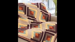 Quilt Inspired Afghans Crochet Patterns Book Preview Log Cabin Blocks, Posey, Dresden Plate, Amish B