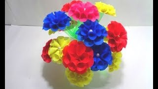 How to Make Shopping Bag Flower || Empty Plastic Bottle Vase Making Crafts ||Best out of waste