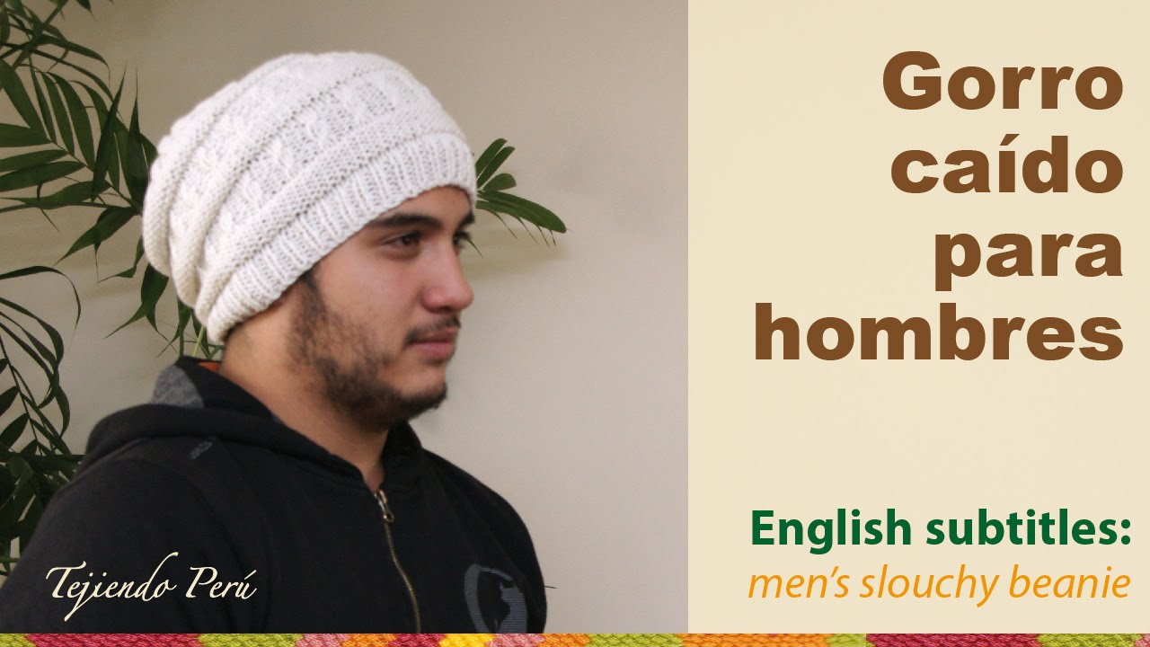 Gorro caído para hombres   English subtitles  men s slouchy beanie - YouTube 9e48777fff5