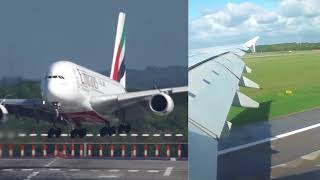Airbus A380 Düsseldorf Hard Crosswind Landing - Out and Inside video