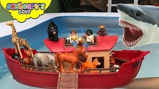 NOAH'S ARK vs. Giant Shark - Animal toys kids Safari Zoo Collection Farm Children Boat animals
