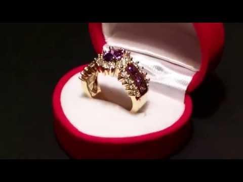 yellow gold purple Tanzanite and diamond cocktail ring
