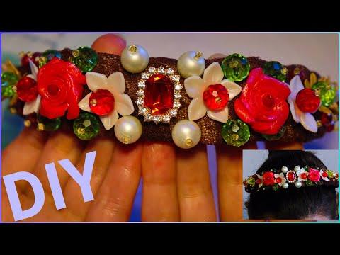 DIY Headband with polymer clay flowers Dolce Gabbana style