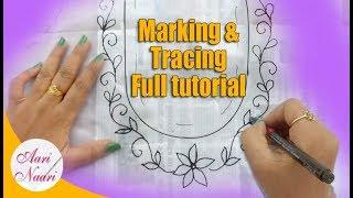 Trace on blouse full tutorial   Aari maggam work tracing for beginners   aari work for beginners