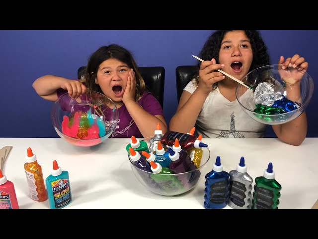 3 COLORS OF GLUE SLIME CHALLENGE WITH NEW COLORS!