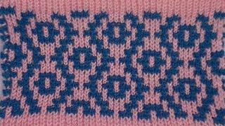 Вязание жаккардового узора Цепочки на  Неве-2