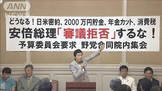 """野党""""老後2000万円""""問題で総理追及 参院決算委(19/06/10)"""