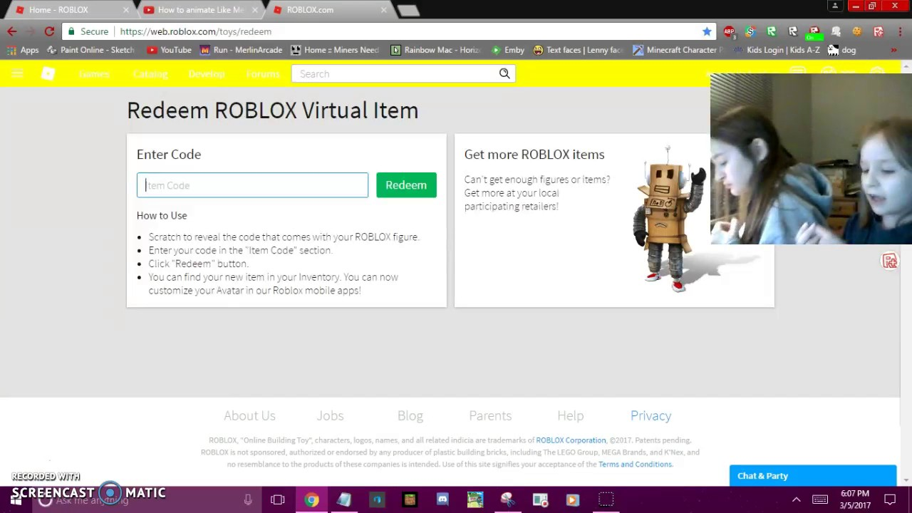 redeeming a roblox toy code with my sister - YouTube