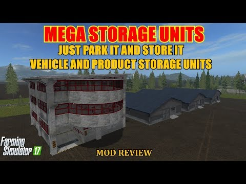 """Farming Simulator 17 - Placeable Vehicle Parking and Universal Storage Halls """"Mod Review"""""""