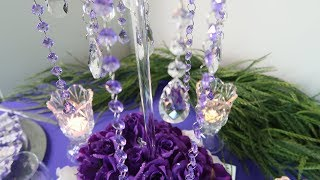 DIY Tall Purple Rain Themed Centerpiece