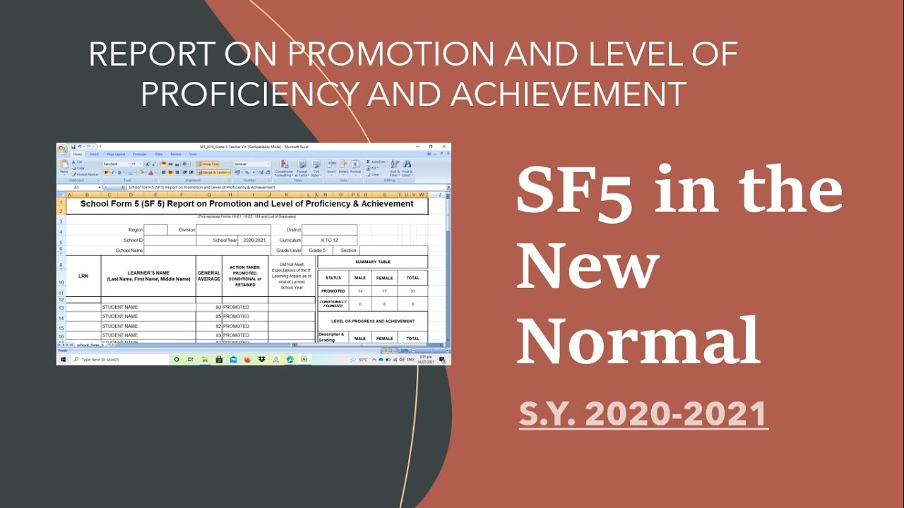 SF5 in New Normal -Report on Promotion and Level of Proficiency