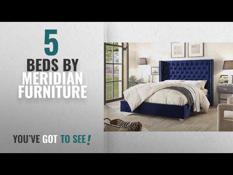 Top 10 Meridian Furniture Beds [2018]: Meridian Furniture AidenNavy-Q Aiden Velvet Upholstered