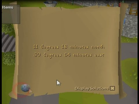 11 degrees 18 minutes north - 30 degrees 54 minutes east. Clue help Runescape 07