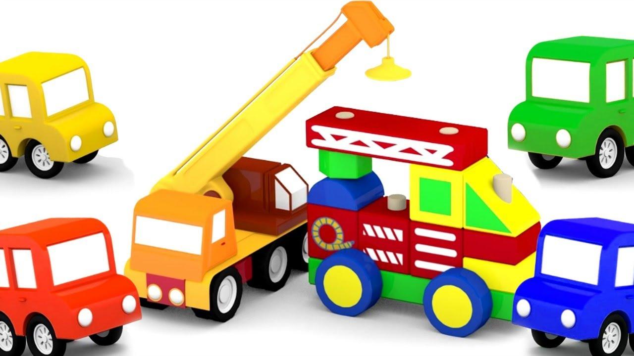 Carro De Bombeiros De Brinquedo. 4 Carros Coloridos