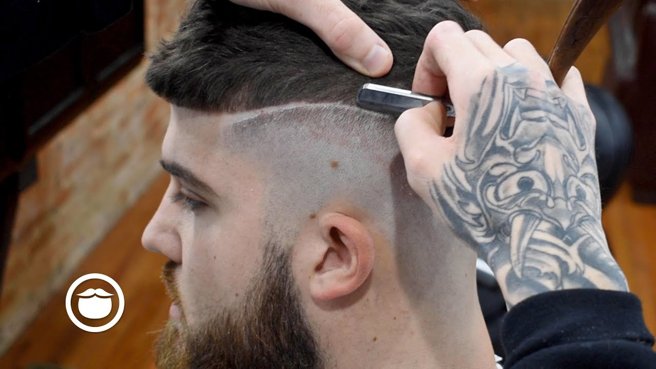 American Barber Gives A European Style Fade Beard Trim Youtube