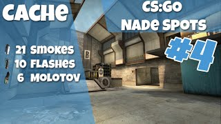 CS:GO Nade Spots Ep #4 - Cache, 21 Smokes, 10 Flashes and 6 Molotovs - Quick Version