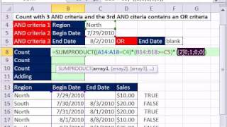 Excel Magic Trick 683: 3 AND criteria & 3rd AND has OR criteria --  Add, Count & Conditional Format