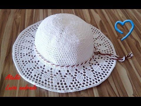 Chapéu de praia em crochê 1° Parte - YouTube 65c74a8bff6