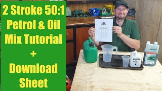 How to mix 2 Stroke fuel small engine petrol / oil tutorial demonstration 50:1 40:1 32:1 25:1 ratio