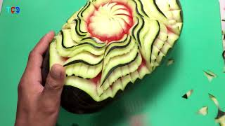 Art in the Watermelon Flower,Easy to Make Carving by Watermelon