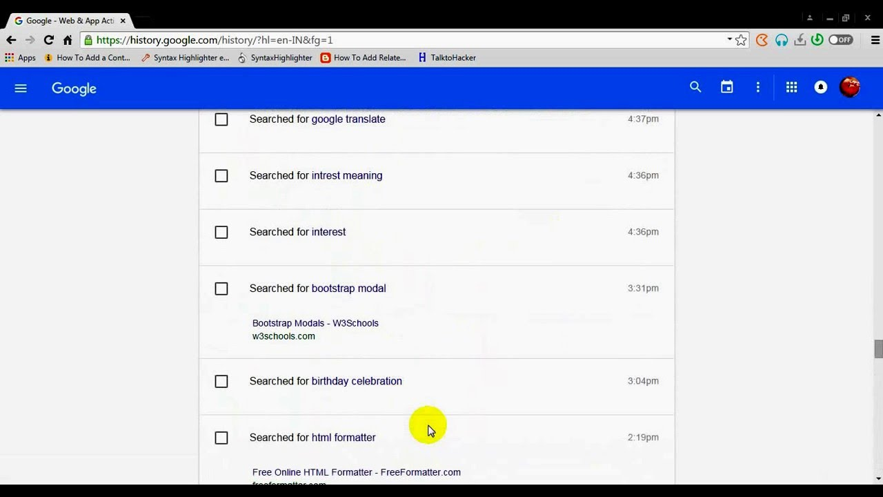 How To View The Search History On Google
