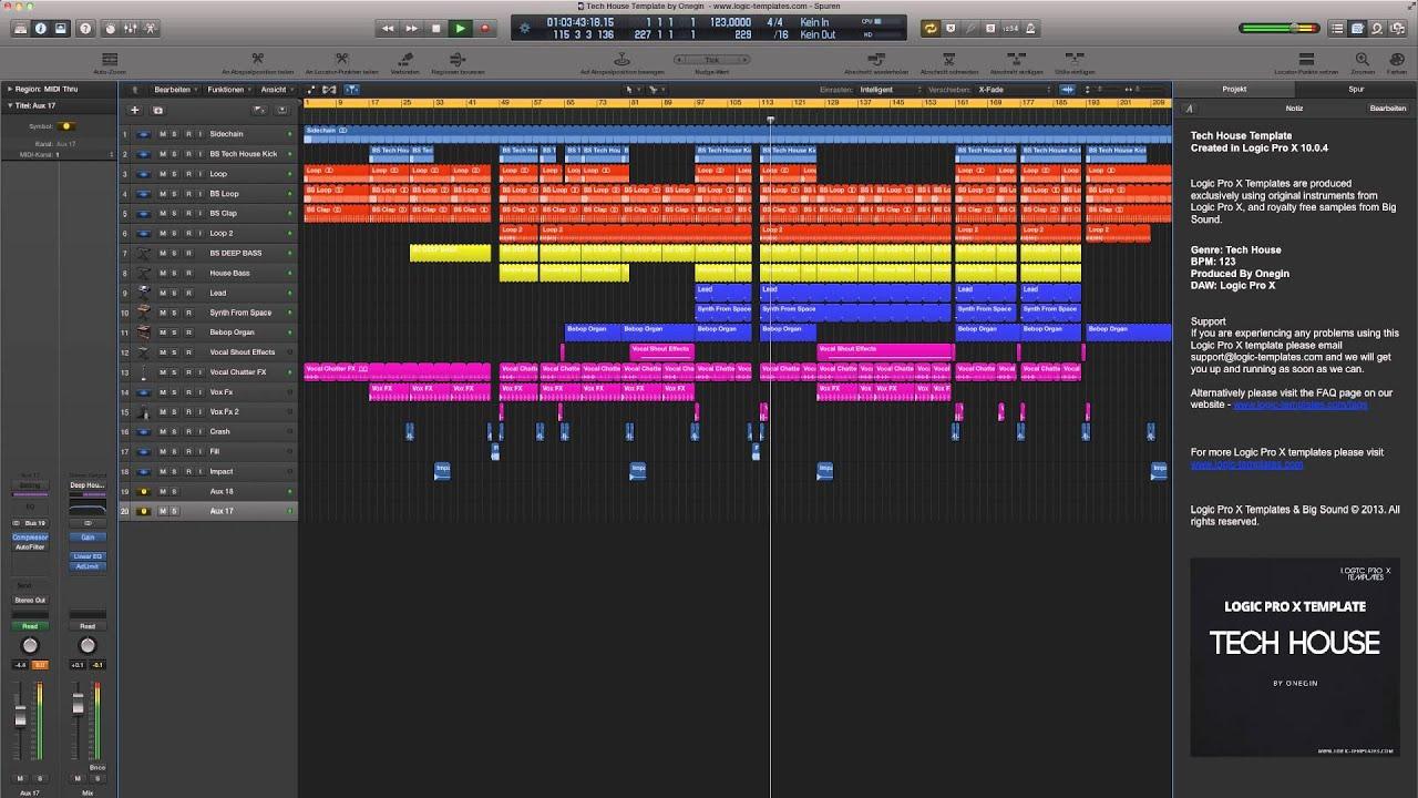 Logic Pro X Template Tech House - YouTube