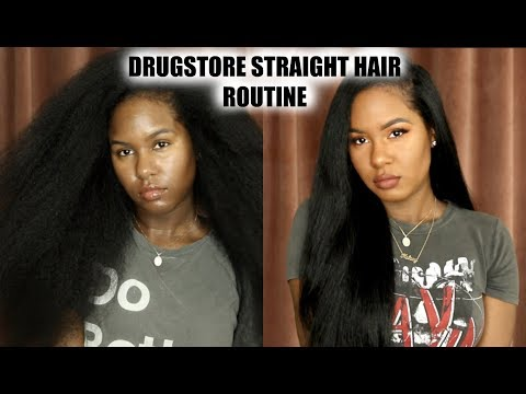 KELSEY'S DRUGSTORE STRAIGHT HAIR ROUTINE   On Naturally Curly Hair