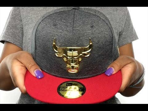 f63969533e1 Bulls  GOLD METAL-BADGE  Shadow Tech-Red Fitted Hat by New Era - YouTube