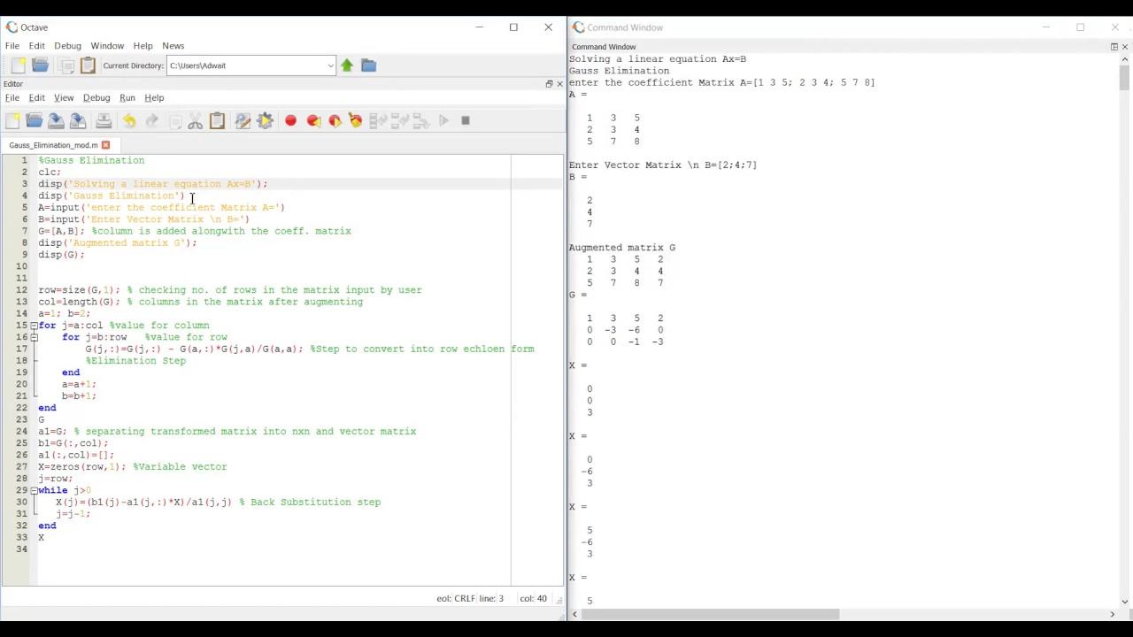 Matlab Gauss Elimination Simplified In Matlab