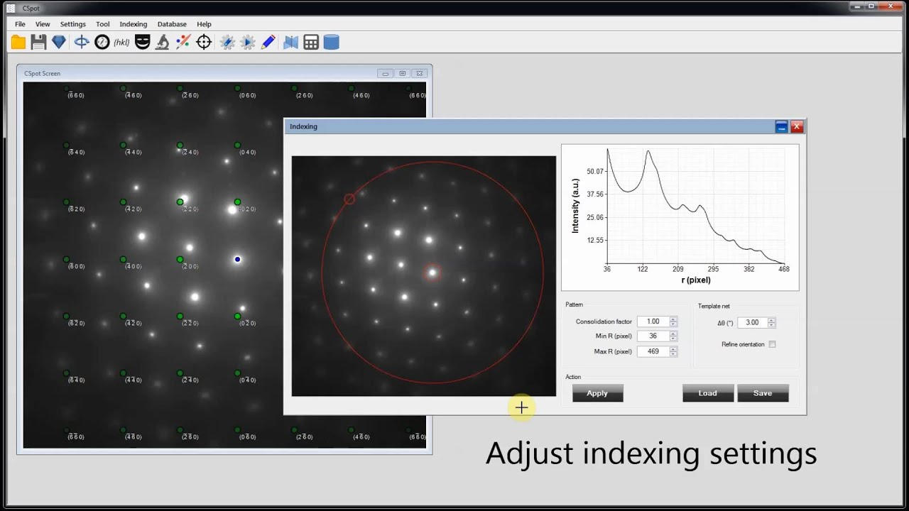 Indexing TEM spot diffraction patterns using CSpot (template ...