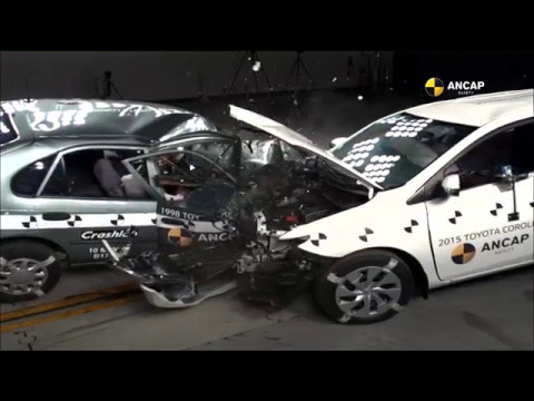 ANCAP crash 1998 Toyota Corolla in to 2015-built counterpart